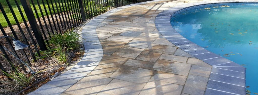 Concrete pool renovation coping tiles plastering services - Installing pavers around swimming pool ...