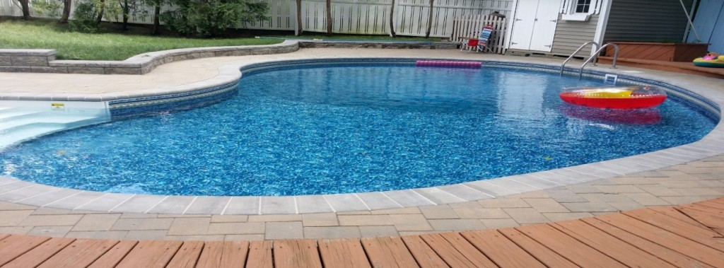 slide (1) - inground liner pool step addition, liner replacement, retaining wall, paver installation, pool opening, pool closing