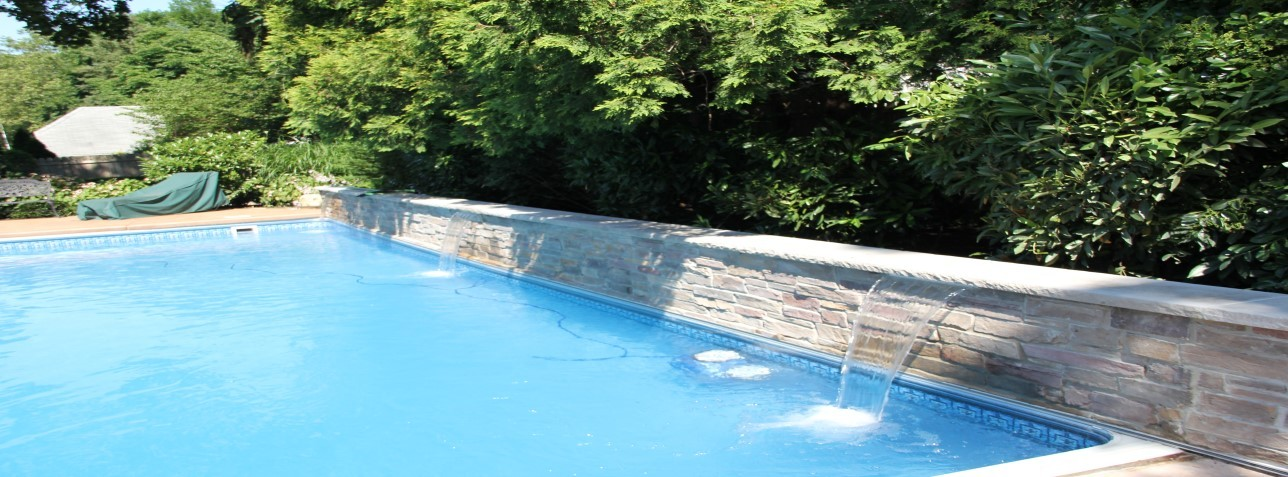 slide (15) - pool liner replacement, pool waterfall, pump & filter installation, pool coping, stamped concrete decking