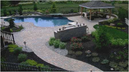 Inground Pool Patio Designs in ground pool patio stone in solon oh created by hoehnen landscaping Pool Patio Ideas Pool With Bistro Patio Set And Firepit Patio Idea Patio Design Patio Installation